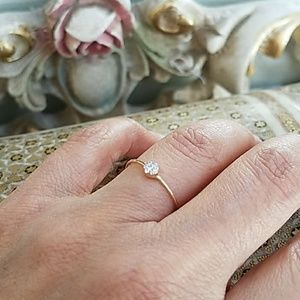 Jewelry - Dainty 14K Yellow Gold flower promise Ring